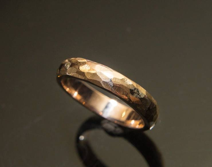 Faceted Rose Gold Wedding Band