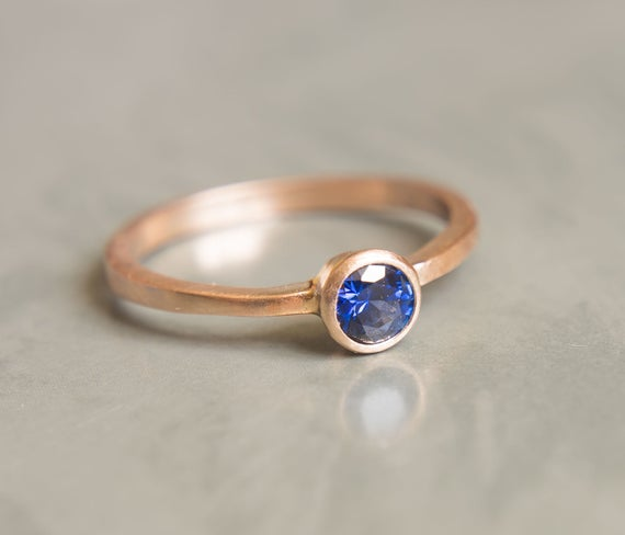 Blue sapphire ring with matte finish